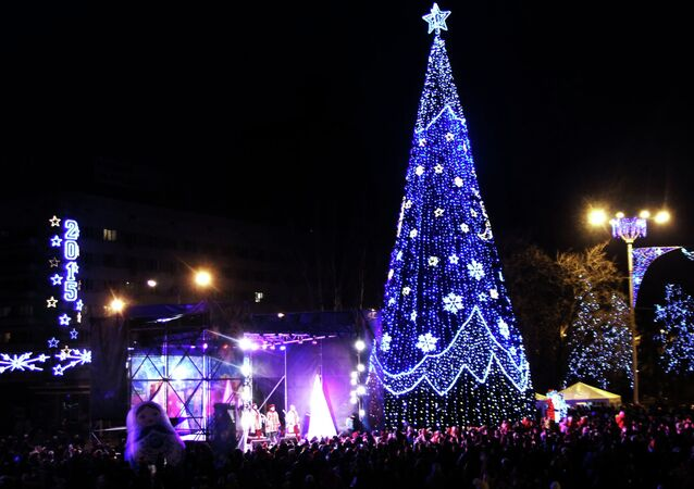 Local residents at the lighting up of the main Christmas tree of the Donetsk People's Republic on Lenin Square in Donetsk