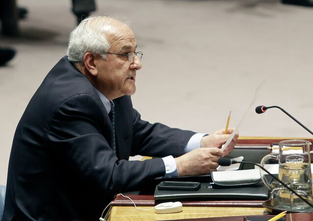 Palestinian Ambassador to the United Nations Riyad Mansour speaks during a meeting of the U.N. Security Council