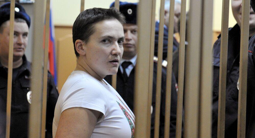 Ukrainian pilot Nadezhda Savchenko, accused of complicity in the murder of Russian journalists