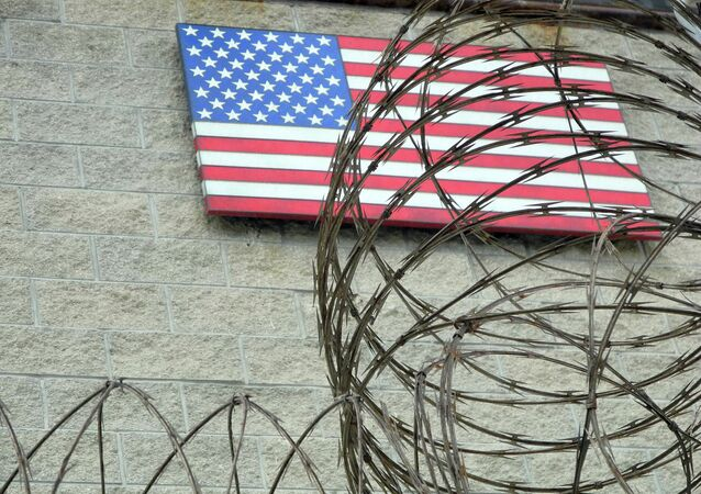 This August 7, 2013 file photo shows the US flag at the US Naval Base in Guantanamo Bay, Cuba