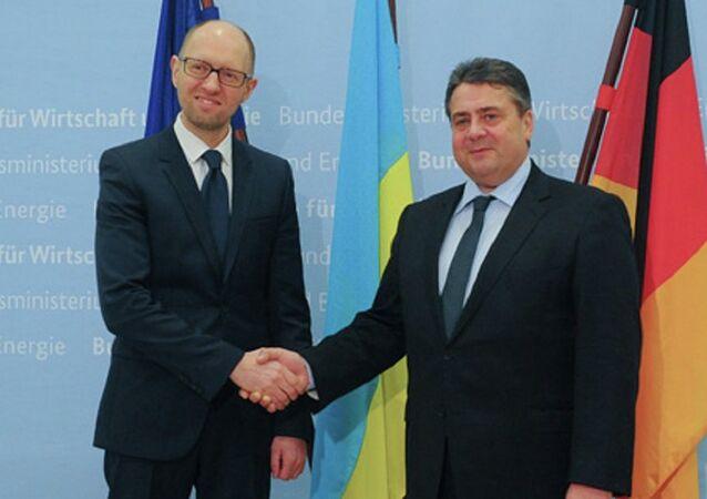 Ukrainian Prime Minister Arseniy Yatsenyuk's meeting with German Vice Chancellor Sigmar Gabriel in Berlin