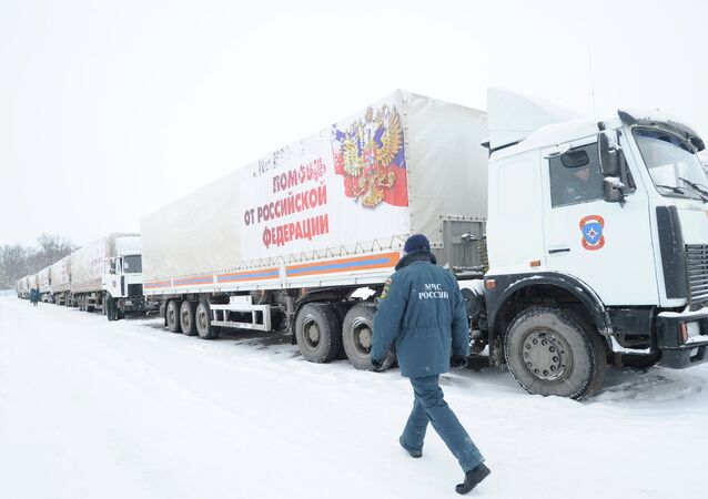 Russian Emergencies Ministry official said that the 11th Russian humanitarian convoy carrying 1,400 tonnes of aid to the war-torn Donbas region is currently heading towards the Russian state border with Ukraine.