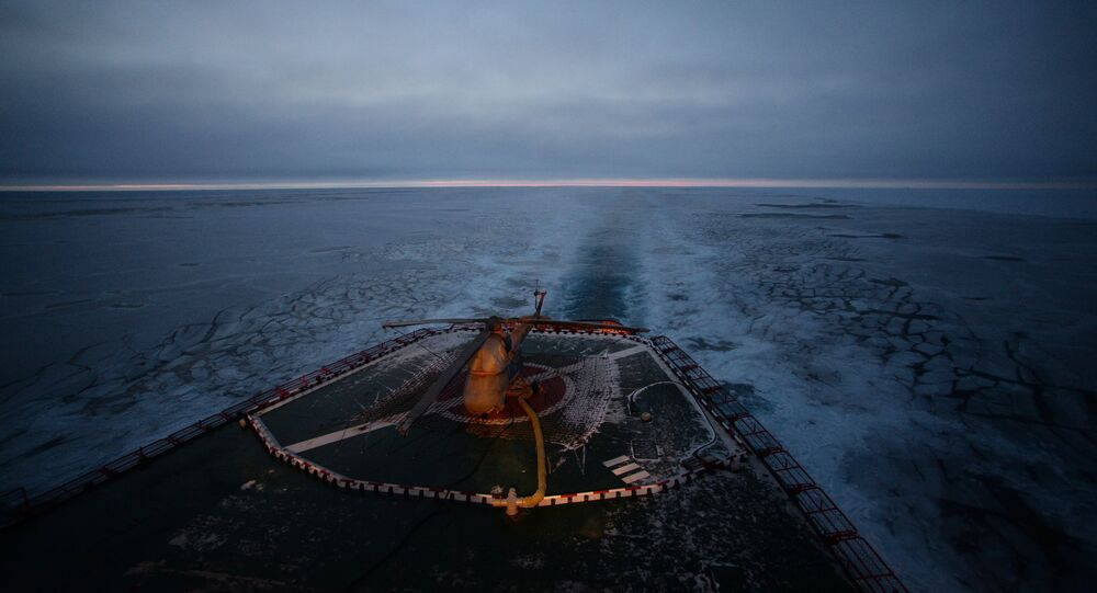 North Pole expedition. A helipad on the NS 50 Let Pobedy Arktika-class nuclear-powered icebreaker.