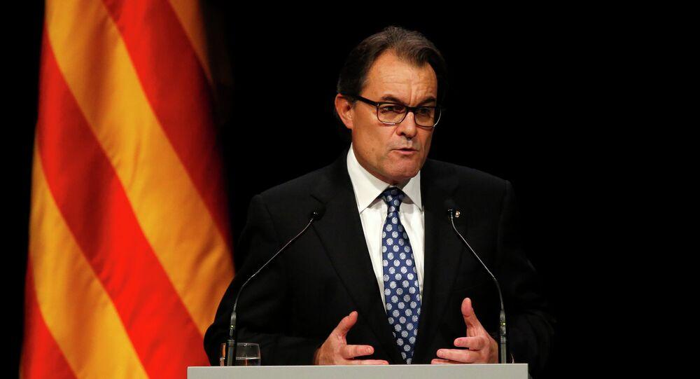 Catalonia's President Artur Mas attends a conference in Barcelona