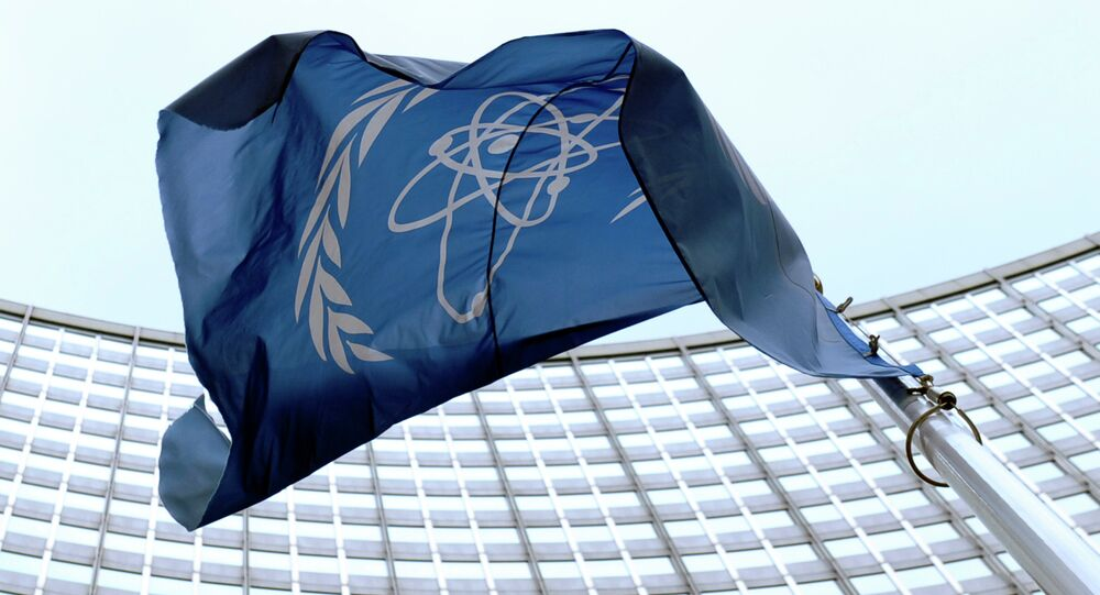 The flag of the International Atomic Energy Agency (IAEA) flies in front of the Vienna headquarters