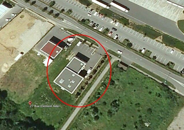 Aerial view of printing company Creation Tendance Decouverte CTD where the Charlie Hebdo gunmen are supposed to hold hostages
