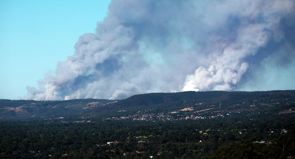 Fire in the Adelaide Hills in South Australia