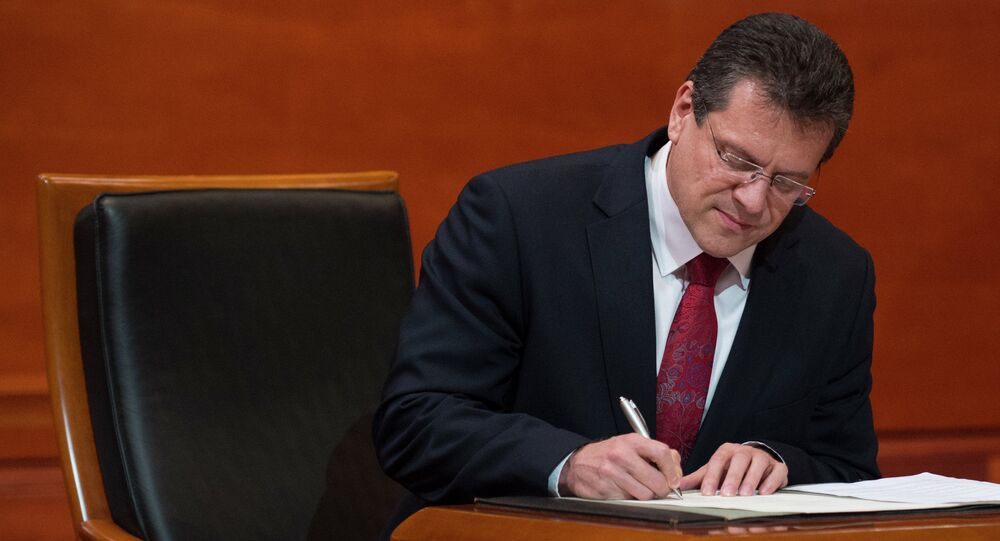 European Commissioner for Energy Union Maros Sefcovic signs a document during his solemn undertaking before the Court of Justice of the European Union in Luxembourg on December 10, 2014.