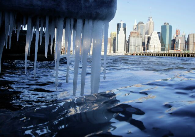 Icicles form on the waterfront in the borough of Brooklyn in New York on Thursday, Jan. 8, 2015