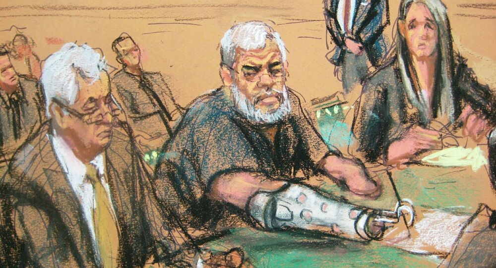 A courtroom sketch shows Abu Hamza, 56, seated with his defense lawyers Sam A. Schmidt (L) and Lindsay Lewis (R) in U.S. District court in Manhattan, New York, January 9, 2015