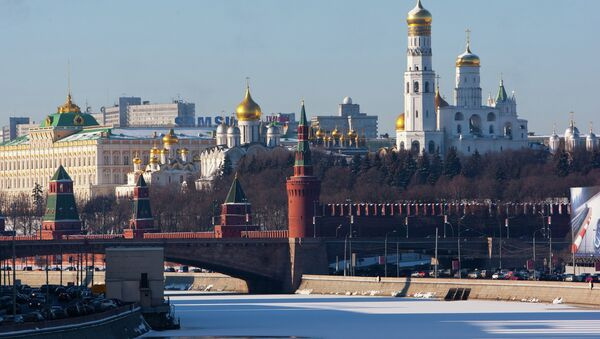 View of the Kremlin Wall, Kremlin cathedrals and the ice-bound Moskva River. - Sputnik International