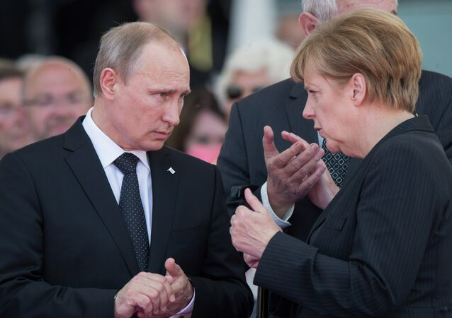 Russian President Vladimir Putin and German Chancellor Angela Merkel have confirmed their mutual intention to continue promoting Ukrainian reconciliation, including in the Normandy format, the Kremlin press service said