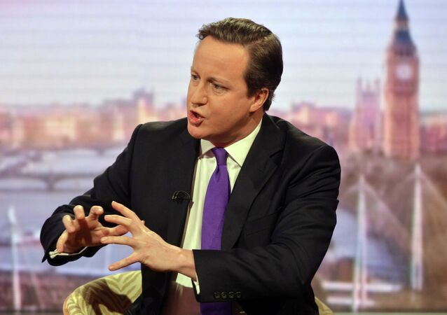 Britain's Prime Minister David Cameron speaks during a television program at the BBC in London