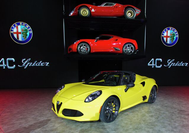 An Alfa Romeo 4C Spider on display at the North American International Auto Show in Detroit