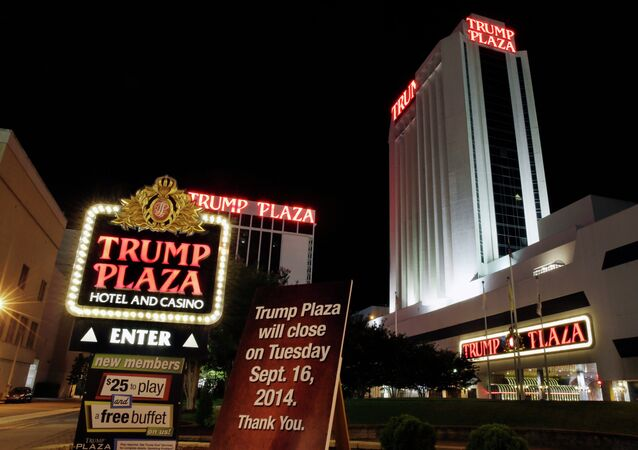 A sign announces the closing of Trump Plaza Hotel & Casino in Atlantic City, N.J