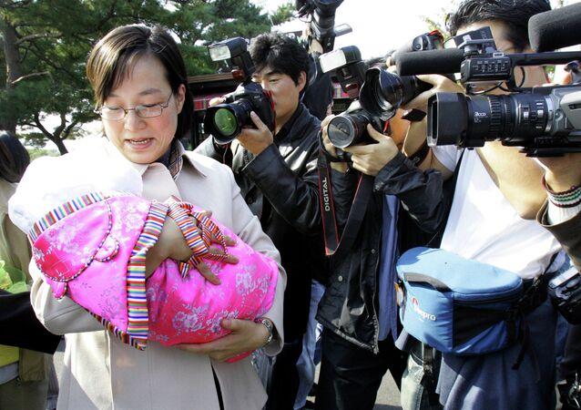 Hwang Seon, 31, a South Korean activist for unification of the Korean peninsula