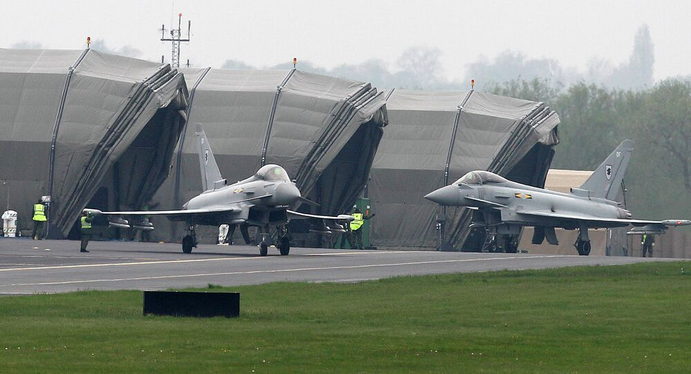 RAF Typhoon fighter aircraft at RAF base Northolt