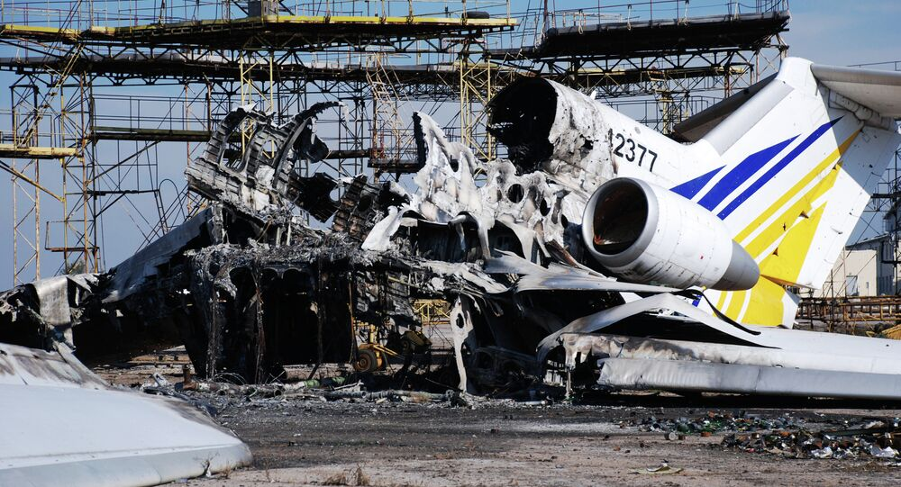 A burned plane at Donetsk airport
