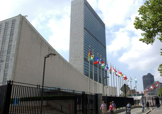 The United Nations Headquarters building is seen in New York