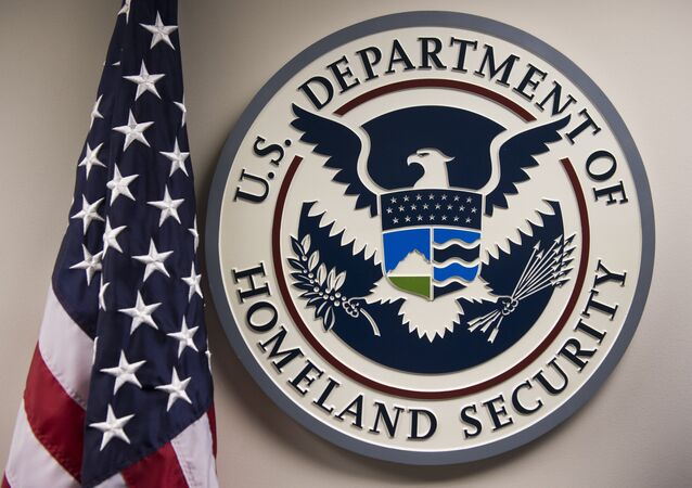 The logo of the US Department of Homeland Security is seen at the National Cybersecurity and Communications Integration Center in Arlington, Virginia, January 13, 2015.