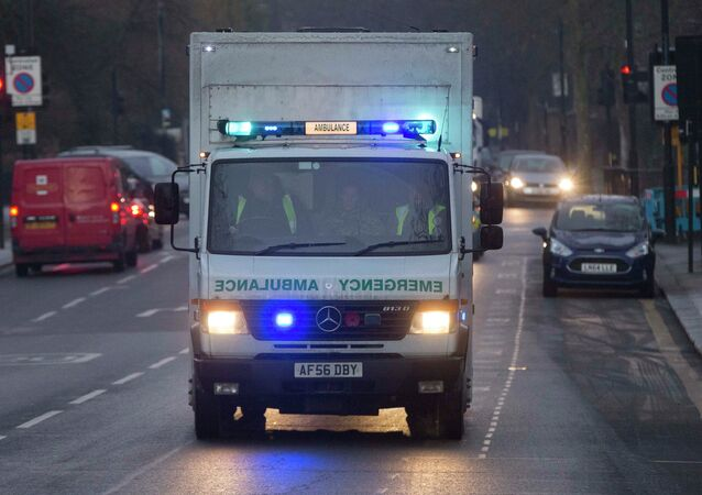 An ambulance carrying a female Ebola patient arrives at the Royal Free Hospital in London
