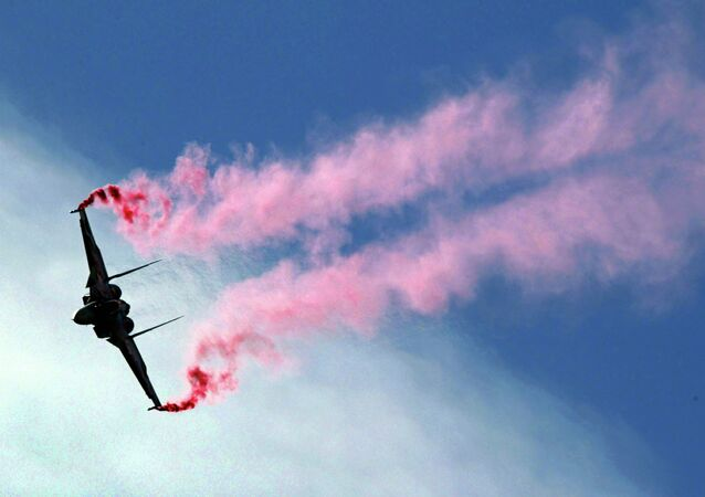 A Russian Su-30MKI fighter performs at the Moscow International Air Show in Zhukovsky