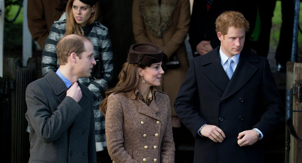 Britain's Prince William, left, his wife Kate Duchess of Cambridge and brother Prince Harry leave after attending the British royal family's traditional Christmas Day church service at St. Mary Magdalene Church in Sandringham, England, Thursday, Dec. 25, 2014.