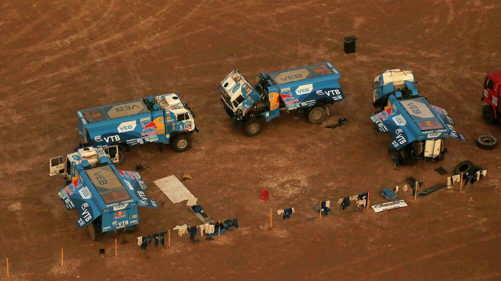 A truck of team KAMAZ-master, from Russia, driven by Andrey Karginov crosses a rocky Chilean desert on stage 5 of the Dakar 2015 rally