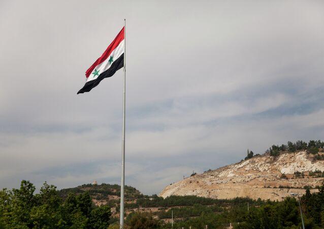 Syrian flag over the capital, Damascus, Syria
