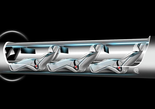 Hyperloop capsule with passengers onboard