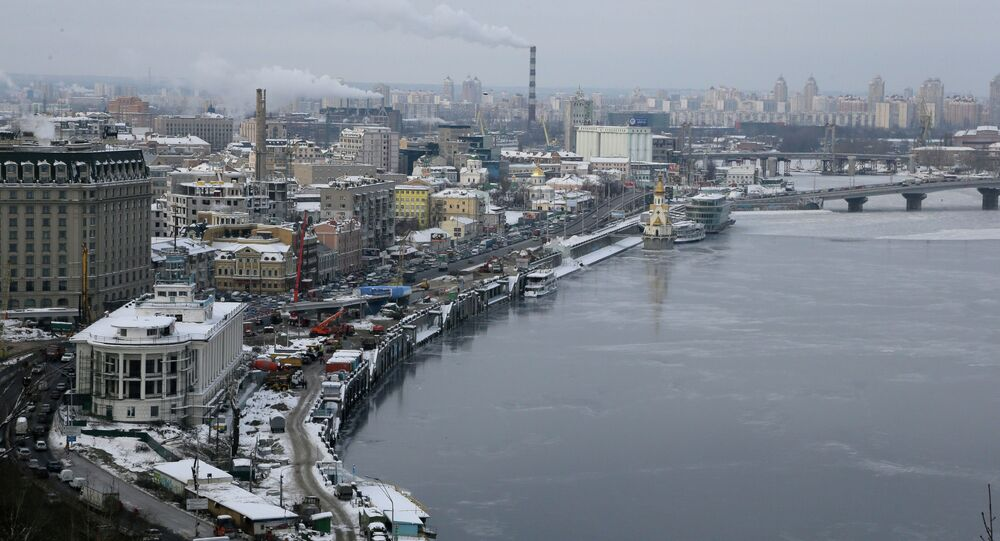 An aerial view of the right bank of the Dnipro River in the Ukrainian capital Kiev on a snowy winters day Thursday, Dec. 20, 2012