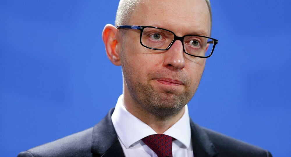 Ukrainian Prime Minister Arseny Yatsenyuk addresses a news conference following talks at the Chancellery in Berlin January 8, 2015