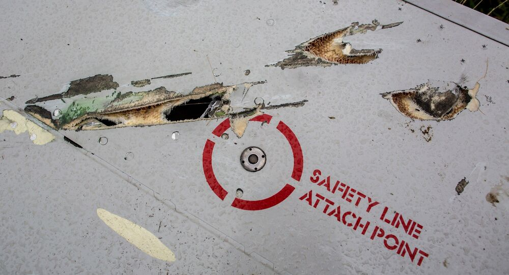 The damage to the wing of a Malaysian airliner that crashed near Shakhtyorsk, supposedly caused by a missile. (File)