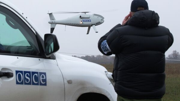 A member of the Organization for Security and Co-operation in Europe (OSCE) mission to Ukraine watches a drone take off during a test flight - Sputnik International