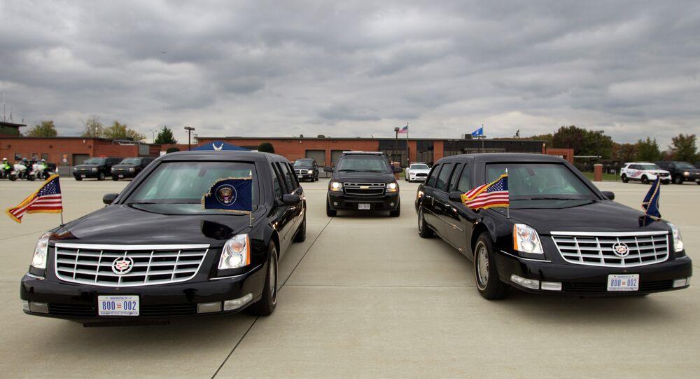 President Barack Obama limousine park at Andrews Air Force Base, Md., on Saturday, Nov. 1, 2014