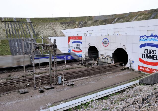 A picture taken on February 10, 2014 near Coquelles, northern France, shows the entrance of the Eurotunnel