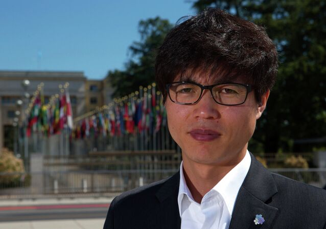 Shin Dong-hyuk poses after an interview with Reuters in Geneva in this June 5, 2013 file photo.