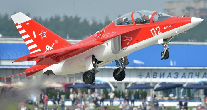 Yak-130 aircraft during a demonstration flight at the MAKS-2013 Aviation and Space Salon in Zhukovsky.