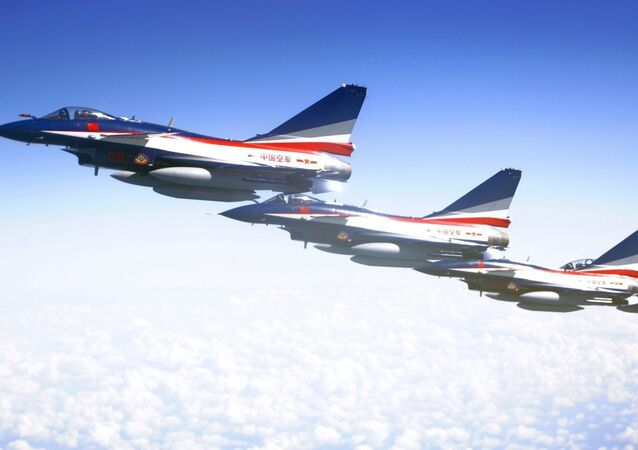 J-10 jet fighters of the Bayi Aerobatic Team of the Chinese People's Liberation Army (PLA) Air Force rehearse in Moscow, Russia