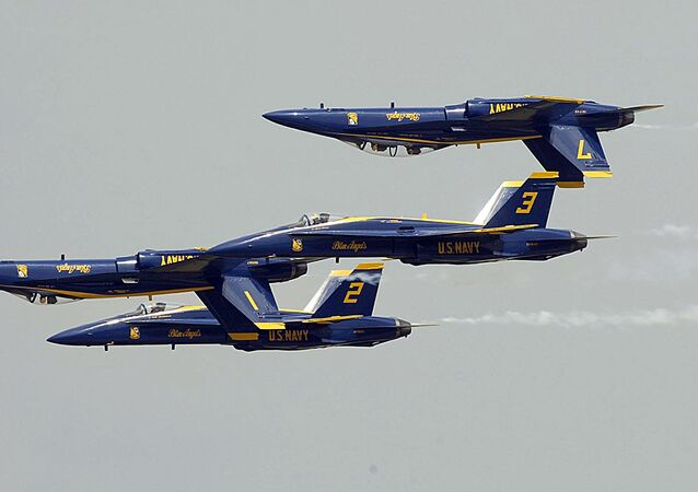 US Navy's Blue Angels perform at Andrews Air Force Base in Maryland.