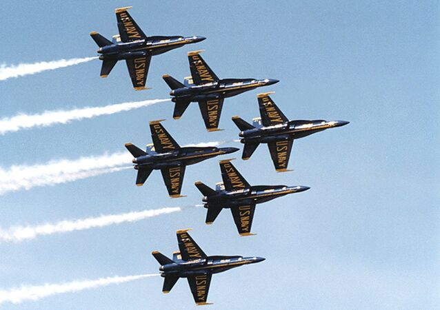 This undated US Navy photo shows Navy F-18's flying in formation piloted by the Blue Angels precision flying team.