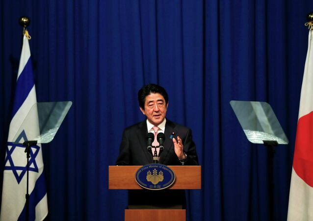Japanese Prime Minister Shinzo Abe holds a news conference in Jerusalem January 20, 2015.