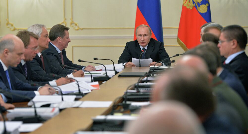 Russian Vladimir President Putin at a meeting of Russia's Military-Industrial Commission