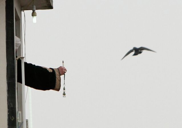 A Muslim cleric displaying the holy relic believed to be the hair from the beard of the Prophet Mohammed at Hazratbal shrine on the Friday following Eid-e-Milad , or the birth anniversary of Prophet Mohammad on January 17, 2014 in Srinagar