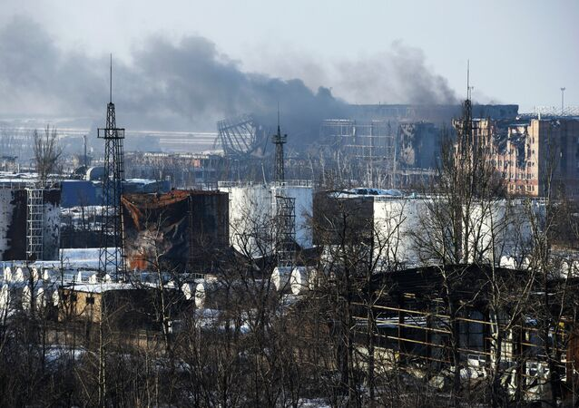 Smoke rises over the new terminal of Donetsk airport in Donetsk, Eastern Ukraine.
