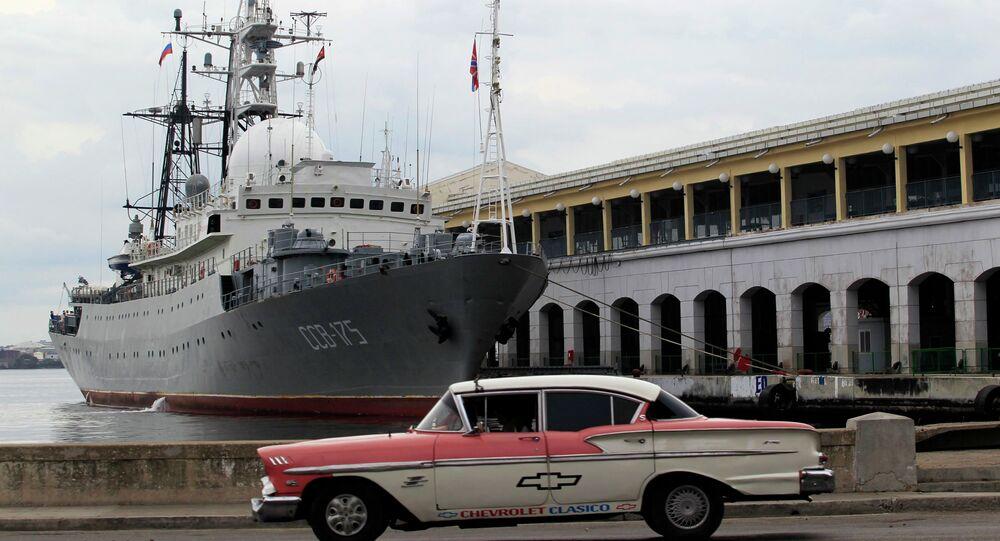 A Russian ship Viktor Leonov SSV-175, is seen docked at the port in Havana