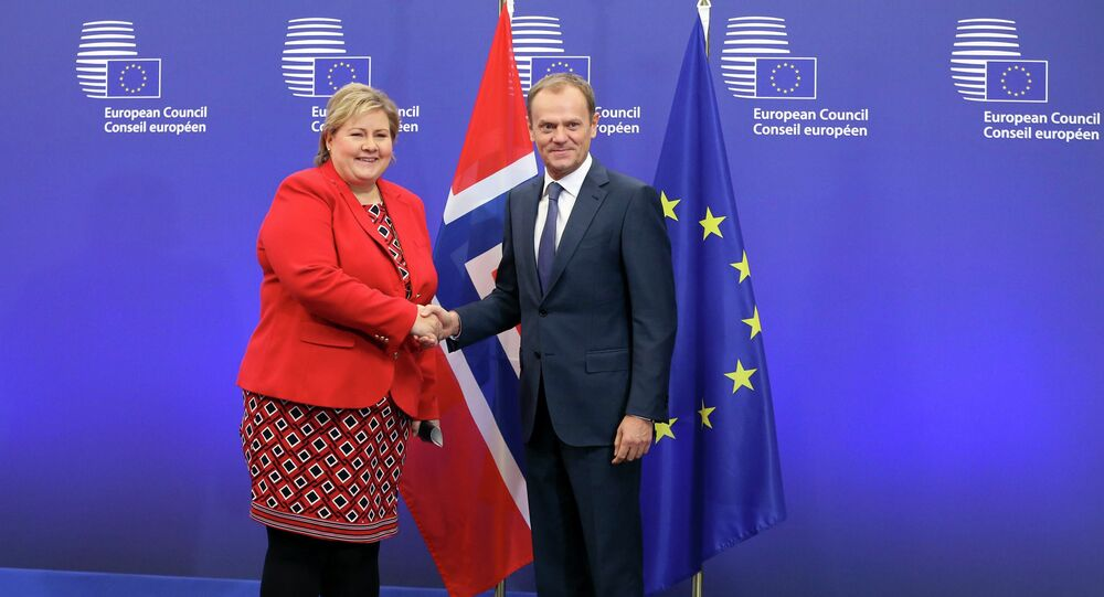 European Council President Donald Tusk poses with Norway's Prime Minister Erna Solberg (L) ahead of a meeting in Brussels January 21, 2015.
