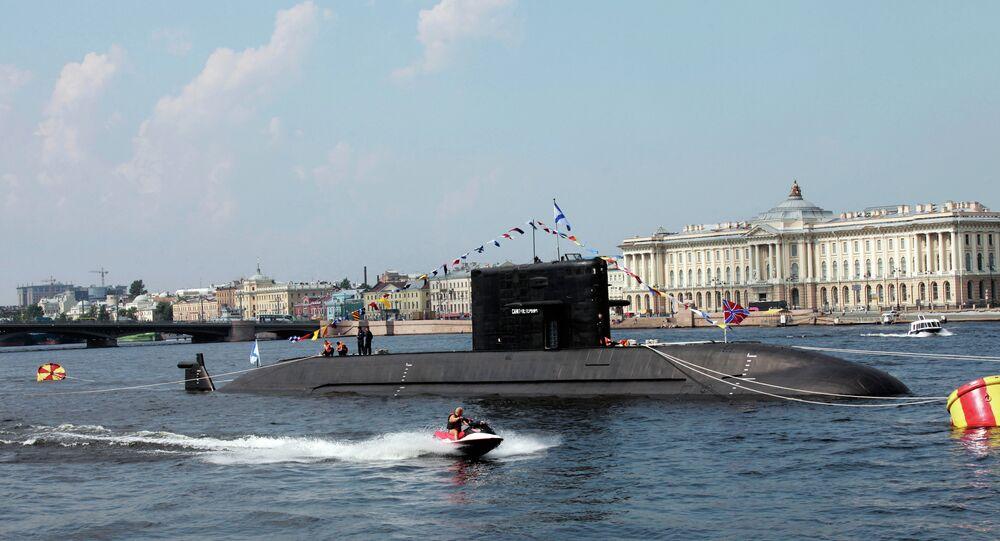 Diesel submarine Saint Petersburg (project LADA) in the Neva waters.