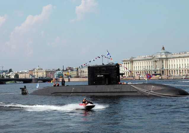 Diesel submarine Saint Petersburg (project LADA) in the Neva waters.