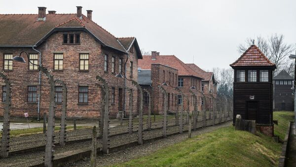 Auschwitz concentration camp Museum. 20.01.2015 in Oswiecim, Poland. In the picture: barbed wire fence surrounded the camp - Sputnik International